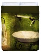 Retro Bathroom Grunge Duvet Cover