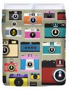 Retro Camera Pattern Duvet Cover