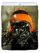 Retro Car In Orange Duvet Cover