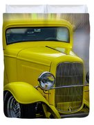 Retro Car In Yellow Duvet Cover
