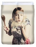 Retro Cooking Woman Giving Recipe Kiss Duvet Cover