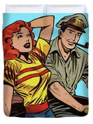 Retro Couple On Boat Comic Style Duvet Cover