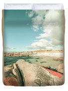 Retro Filtered Beach Background Duvet Cover