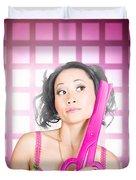 Retro Hairdresser Holding Big Pair Of Scissors Duvet Cover