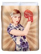 Retro Pinup Boxing Girl Fist Pumping Glove Hand  Duvet Cover