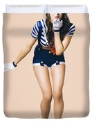 Retro Pinup Girl Blowing Travelling Departure Kiss Duvet Cover