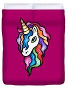 Retro Rainbow Unicorn Duvet Cover