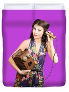 Retro Receptionist On Vintage Telephone. Call Us Duvet Cover