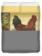 Retro Rooster 2 Duvet Cover