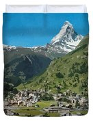 Retro Swiss Travel Zermatt And Mount Matterhorn  Duvet Cover