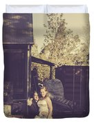 Retro Wedding Couple At Australian Farm Cottage Duvet Cover