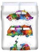 Retro Wheels Watercolor Duvet Cover