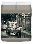 Retromobile. Morris Minor. Vintage Monochrome Duvet Cover
