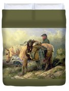 Returning From The Hill Duvet Cover by Richard Ansdell
