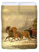 Returning Home In Winter Duvet Cover by Charles Ferdinand De La Roche
