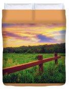 Retzer Nature Center - Sunset Over Field Duvet Cover