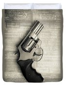 Revolver Pistol Gun Over Drawings Duvet Cover