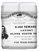 Reward Poster For The Arrest Of Oliver Perry Issued  Duvet Cover