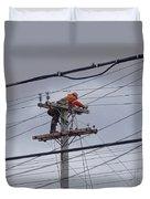 Rewiring A Power Pole Duvet Cover