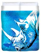 Rhino Animal Decorative Blue Poster 1 - By  Diana Van Duvet Cover