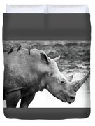 Rhino With Passengers Duvet Cover