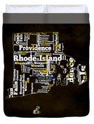 Rhode Island Typographic Map Duvet Cover