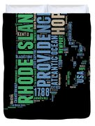 Rhode Island Word Cloud 2 Duvet Cover