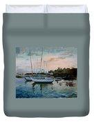 Rhodes Mandraki Harbour Duvet Cover