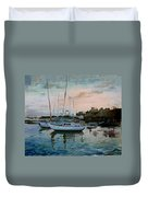 Rhodes Mandraki Harbour Duvet Cover by Ylli Haruni