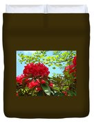 Rhodies Art Prints Red Rhododendron Floral Garden Landscape Baslee Duvet Cover