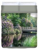 Rhododendrons And Wooden Bridge In Park Duvet Cover