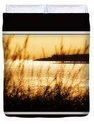Rhos Point Viewed Through Beach Grass Duvet Cover