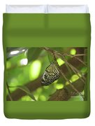 Rice Paper Butterfly Clinging To A Tree Branch Duvet Cover