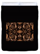 Rich Coffee Fractal Roses Duvet Cover