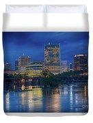 Richmond Skyline Above James River At Night 11972 Duvet Cover
