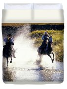 Riders In A Creek Duvet Cover