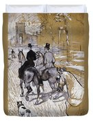 Riders On The Way To The Bois Du Bolougne Duvet Cover