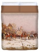 Riders Outside A Village In A Winter Landscape Duvet Cover