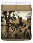 Rides His Horse 3 Duvet Cover
