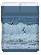 Riding The Waves At Wall Beach Duvet Cover
