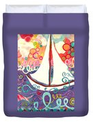 Riding The Waves In Bubbles Of Joy Duvet Cover