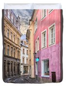 Riga Narrow Road Digital Painting Duvet Cover