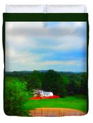 Right Field And Green Meadows Duvet Cover