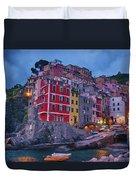 Riomaggiore In Cinque Terre Italy Painterly Duvet Cover