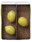Ripe Lemons In Wooden Tray Duvet Cover