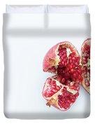 Ripe Pomegranate Fruit On A White Background Duvet Cover