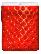 Ripe Red Fresh Strawberry Texture And Detail Duvet Cover