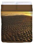 Ripples In The Sand Low Tide Golden Sunset Duvet Cover
