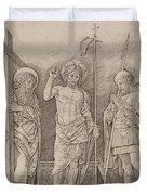 Risen Christ Between Saints Andrew And Longinus Duvet Cover