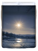 Rising Sun On A Cold Winter Morning Duvet Cover
